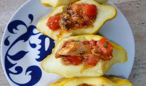 Pâtissons Farcis Tomates et Sardines en Salade