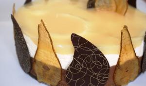 Bavarois poire-chocolat sur craquant spéculoos