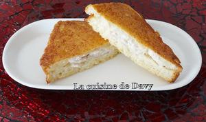 Sandwichs poulet/mozzarella façon pain perdu