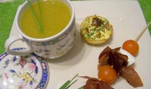 Soupe de légumes d'hiver petites quiches vache qui rit