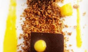 Gelée de chocolat noir-panna cotta cardamome et coulis de mangue....