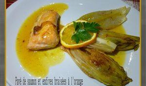Pavé de saumon et endives braisées à l'orange