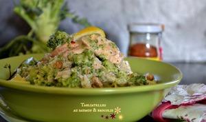 Tagliatelle au saumon et brocolis bio