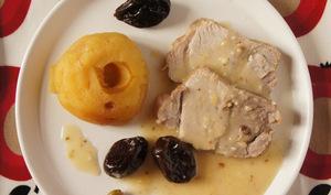 Rôti de porc aux pommes, pruneaux et gingembre