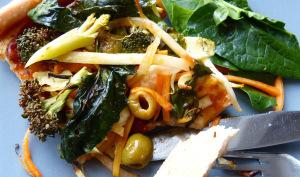 Pizza végétalienne et Poêlée de légumes