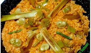 Paella végétarienne aux légumes primeurs