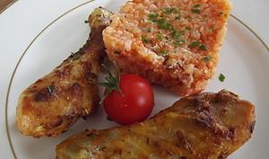 Poulet roti Carla et risotto tomate