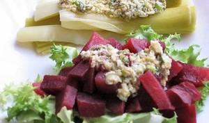 Salade de betterave et poireaux sauce gribiche