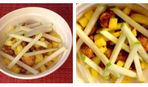 Salade de poulet laqué au tonkatsu sosu, mangue verte et granny smith
