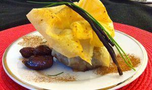 Aumônière de poulet a la vanille et aux épices