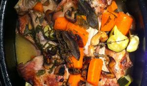 Lapin à la sauge et ses petits légumes à l'étouffé