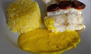 Poisson sauce au safran et chorizo