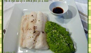 Filet de lingue, sauce soja et purée de petits pois au wasabi