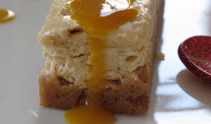 cheesecake au dulcey et au coulis de mangue