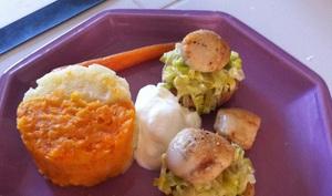 Petits légumes glacés, purée au deux saveurs, noix de St Jacques sur fondu de poireau et son sablé au noix, mousse citron
