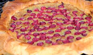 Croustade à la poudre de pistaches et aux griottes