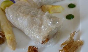 Nems de sardines, grenailles primeurs de Noirmoutier et asperges sauce aux blettes