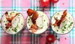 Mousse de betterave, fromage aux herbes et radis