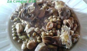 Assiette de légumes printaniers saveur aigre-doux