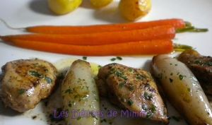 Filets de cailles au Xérès, échalotes caramélisées et carottes glacées
