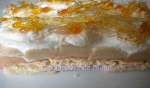 Biscuit à la rhubarbe, crème de mascarpone et coiffe de caramel