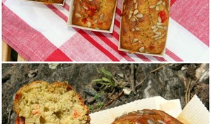 Mini cakes au pesto, parmesan, poivron rouge et graines de tournesol