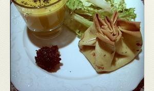 Aumonières au jambon cru et au fromage de chèvre persillé