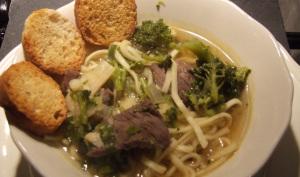 Soupe rapide au boeuf et brocolis
