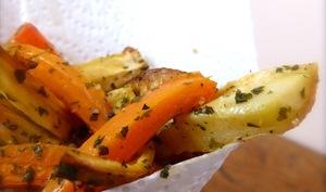Frites de carottes, panais et pommes de terre
