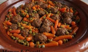 Tagine de Boulettes de Viande petits pois et carottes