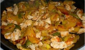 Poêlée de pommes de terre aux poireaux et gorgonzola