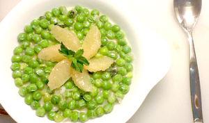 Petits pois «caviar vert», pamplemousse rose menthe fraîche