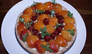 Dacquoise abricots framboise, crème diplomate menthe poivrée