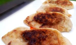 Gyoza grillés aux fanes de radis, à la viande et au gingembre