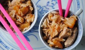 Sauté de porc à l'ananas et riz thaï