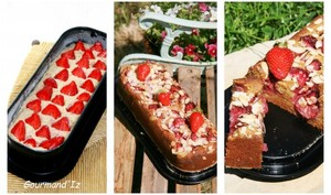 Gâteau pudding fraises et verveine