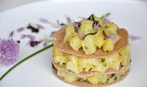 Gâteau de crêpes de blé noir aux pommes de terre et aux algues de Noirmoutier
