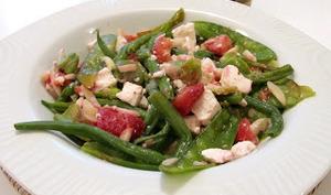 Haricots gourmands, fraises et féta de Norbert Tarayre