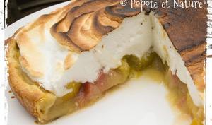 Une tarte gourmande meringuée aux fruits de l'été, prunes jaunes et nectarines