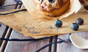 Muffins plein de saveurs Myrtilles, Fruits de la passion