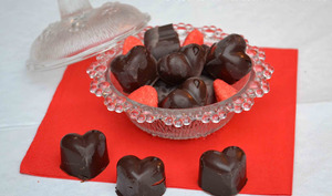 Coeurs de chocolat noir aux Tagada
