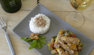 Curry de lotte aux noix et au vin jaune