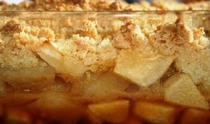 Crumble pommes poires caramel beurre salé