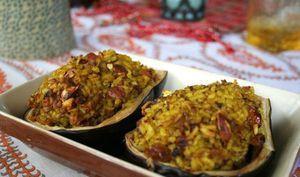 Aubergines farcies au riz parfumé