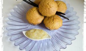 Muffins amande rhubarbe banane et vanille