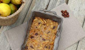 Clafoutis poire, pomme, noisette et chocolat