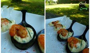 Cuillères de Crevettes Caramélisées sur une Crème d'Oeufs au Curry