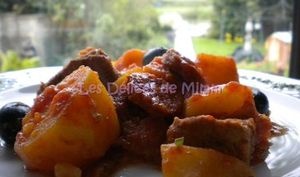 Mijoté de veau au chorizo et aux olives