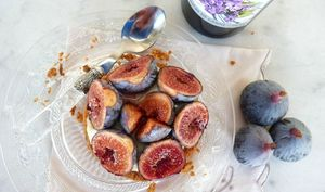 Sablé breton à la figue et au sirop de violette