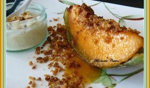Melon rôti au miel, Crumble au pralin, Glace à la vanille